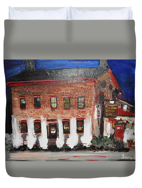 Duvet Cover featuring the painting The Olde Bryan Inn by Laurie Lundquist