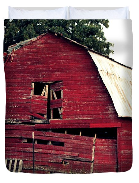 Duvet Cover featuring the photograph The Ole Red Barn by Kathy  White