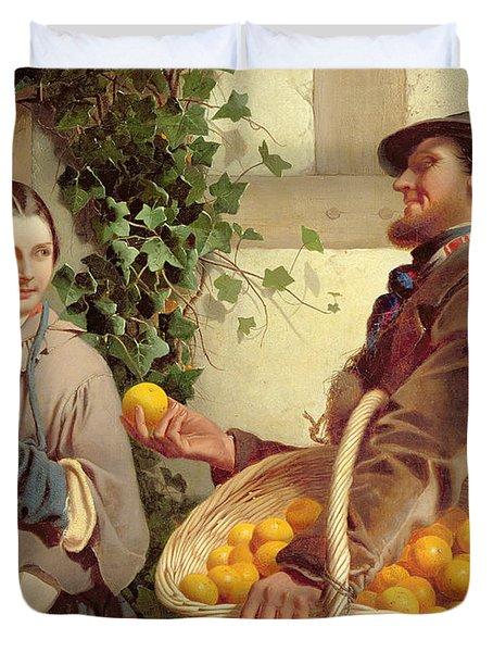 The Orange Seller  Duvet Cover by William Edward Millner