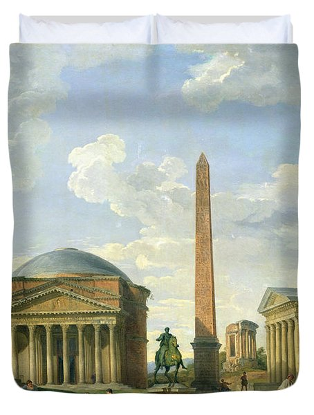 The Pantheon And Other Monuments 1735 Duvet Cover by Giovani Paolo Panini