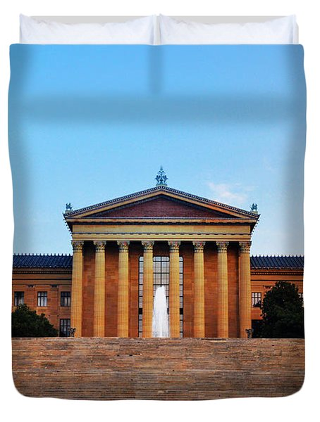 The Philadelphia Museum Of Art Front View Duvet Cover by Bill Cannon