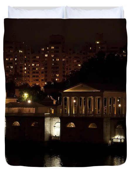 The Philadelphia Waterworks All Lit Up Duvet Cover by Bill Cannon