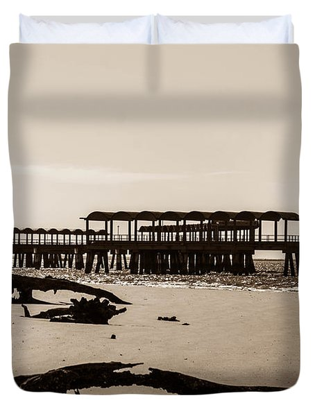 Duvet Cover featuring the photograph The Pier by Shannon Harrington
