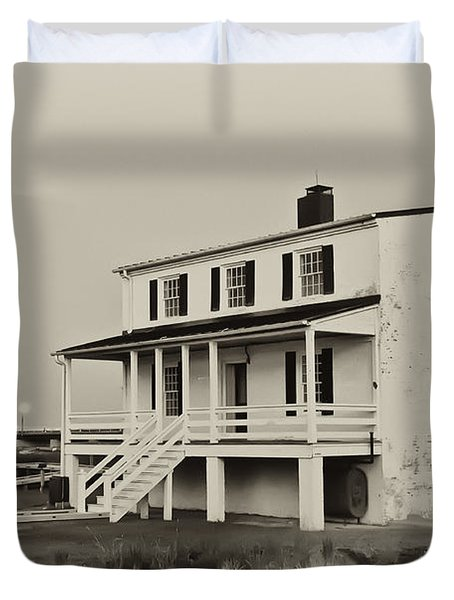 The Piney Point Lighthouse In Sepia Duvet Cover