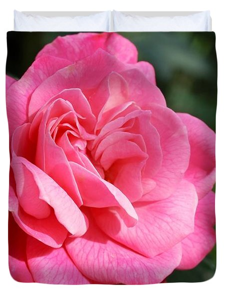 Duvet Cover featuring the photograph The Pink Rose by Fotosas Photography