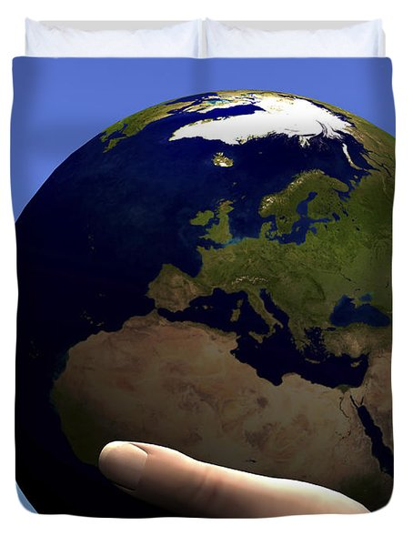 The Planet Earth Is Held In Caring Duvet Cover by Corey Ford