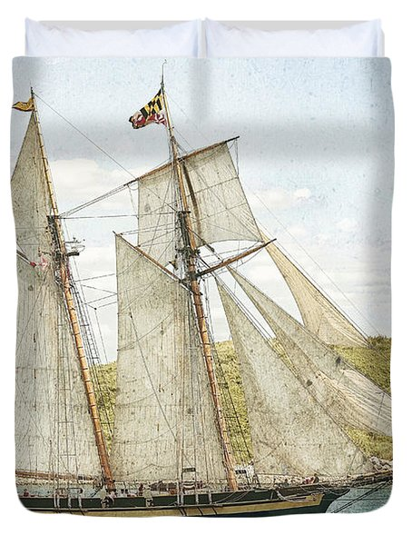 Duvet Cover featuring the photograph The Pride Of Baltimore In Halifax by Verena Matthew