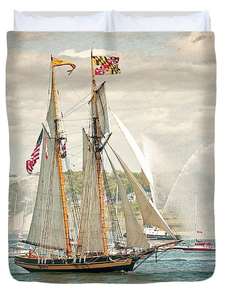 Duvet Cover featuring the photograph The Pride Of Baltimore by Verena Matthew