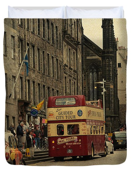 The Princes Street In Edinburgh. Scotland Duvet Cover by Jenny Rainbow