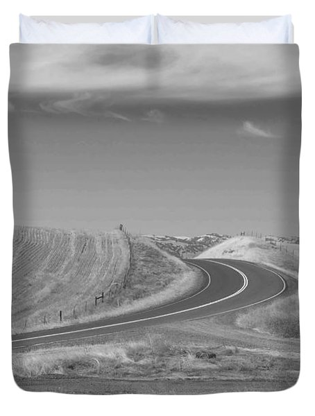 Duvet Cover featuring the photograph The Quiet Road by Kathleen Grace