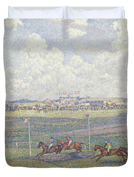 The Racecourse At Boulogne-sur-mer Duvet Cover by Theo van Rysselberghe