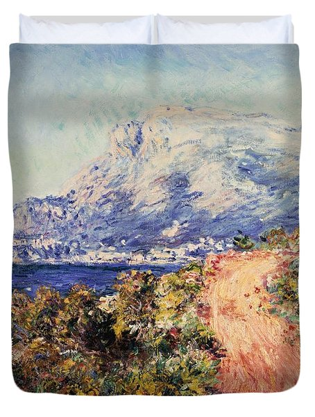 The Red Road Near Menton Duvet Cover by Claude Monet