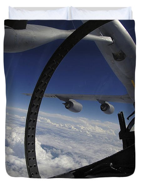 The Refueling Boom From A Kc-135 Duvet Cover by Stocktrek Images