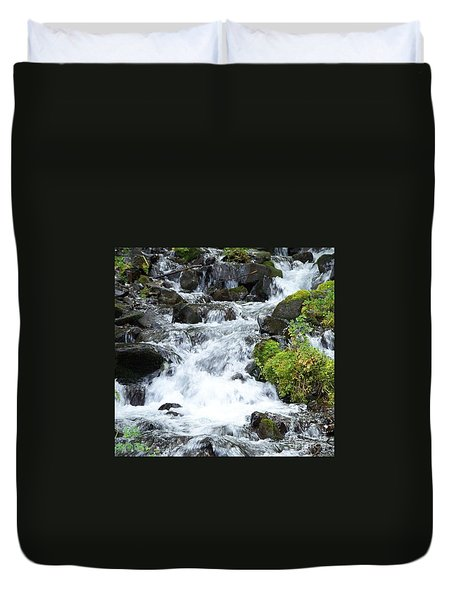 Duvet Cover featuring the photograph The Roadside Stream by Chalet Roome-Rigdon