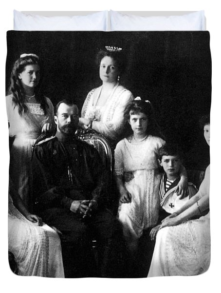 The Romanovs, Russian Tsar With Family Duvet Cover by Science Source