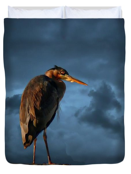 The Rooftop Watcher Duvet Cover