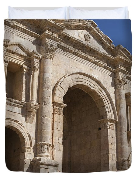The Ruins Of The Ancient City Of Jerash Duvet Cover