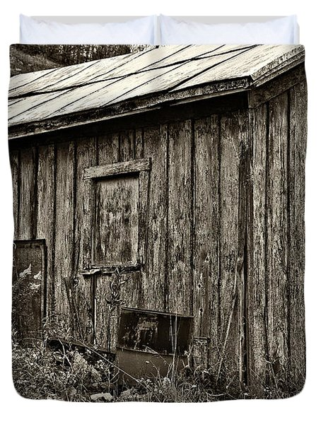The Shed Sepia Duvet Cover by Steve Harrington