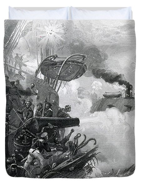 The Sinking Of The Cumberland, 1862 Duvet Cover by Photo Researchers