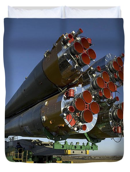 The Soyuz Rocket Is Rolled Duvet Cover by Stocktrek Images