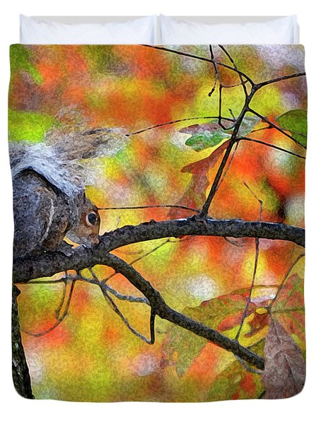 Duvet Cover featuring the photograph The Squirrel Umbrella by Paul Mashburn