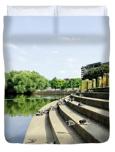 The Steps Of Derby River Gardens Duvet Cover by Rod Johnson