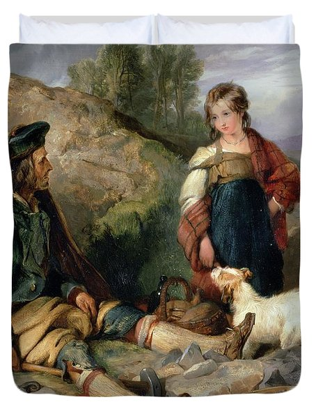 The Stone Breaker And His Daughter Duvet Cover by Sir Edwin Landseer
