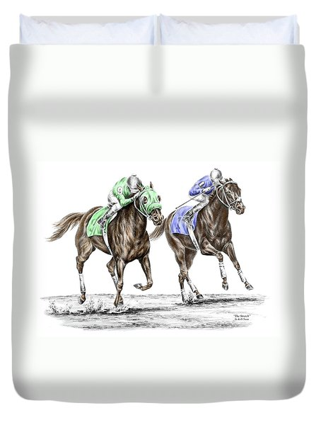 The Stretch - Tb Horse Racing Print Color Tinted Duvet Cover by Kelli Swan