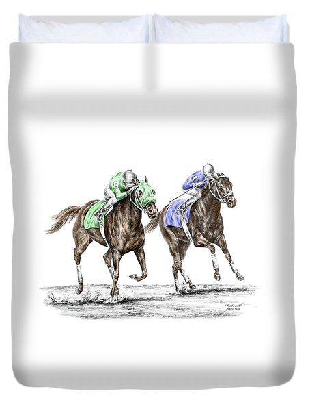 The Stretch - Tb Horse Racing Print Color Tinted Duvet Cover