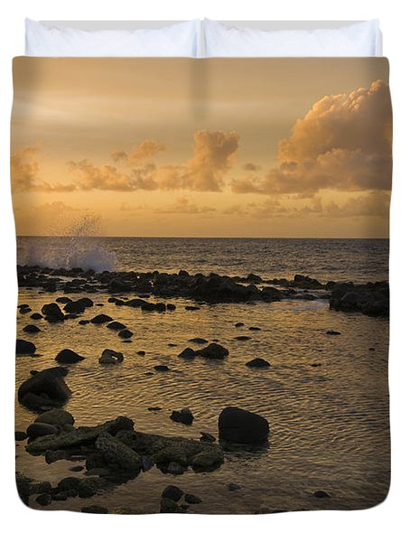 The Sunset Over A Tidal Pool In Saint Duvet Cover
