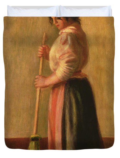 The Sweeper Duvet Cover by Pierre Auguste Renoir