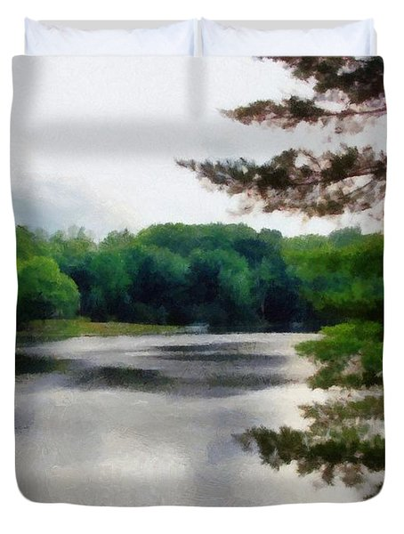 The Swimming Dock Duvet Cover by Michelle Calkins
