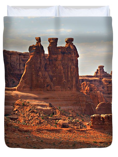The Three Gossips Duvet Cover by Marty Koch