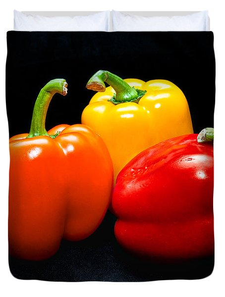 The Three Peppers Duvet Cover by Christopher Holmes