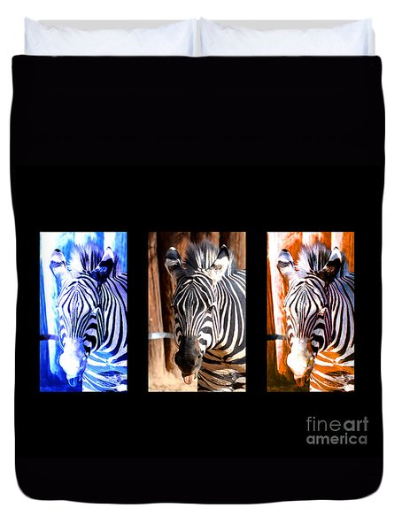 Duvet Cover featuring the photograph The Three Zebras Black Borders by Rebecca Margraf
