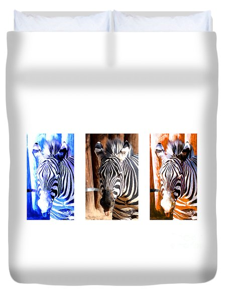 Duvet Cover featuring the photograph The Three Zebras White Borders by Rebecca Margraf