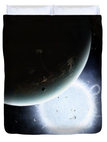 The Tiny Moon Rakka Ume Travels Duvet Cover by Brian Christensen