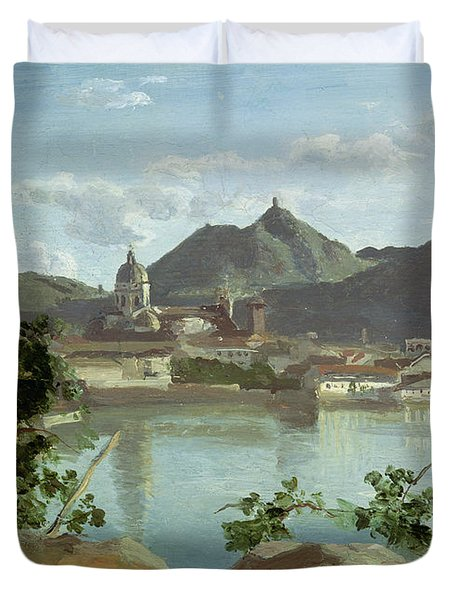 The Town And Lake Como Duvet Cover by Jean Baptiste Camille Corot