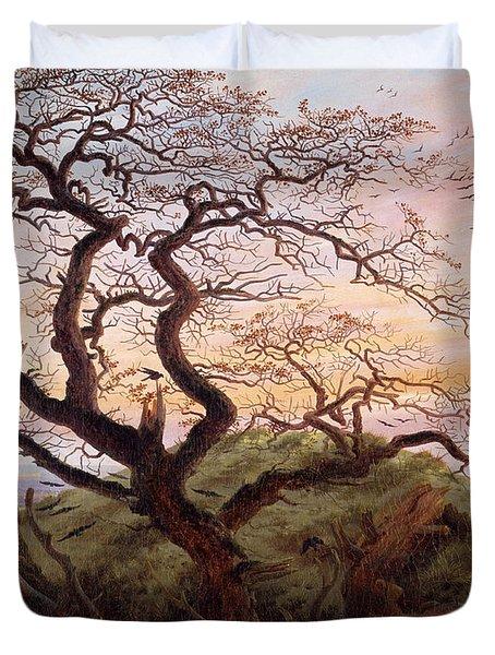 The Tree Of Crows Duvet Cover by Caspar David Friedrich