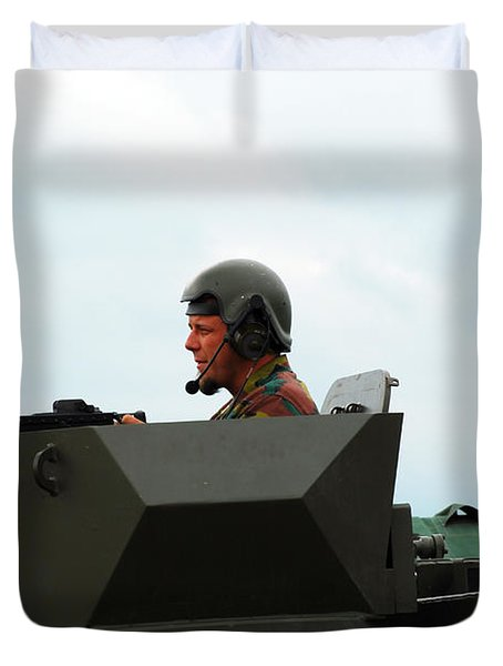 The Turret Of A Pandur Wheeled Armoured Duvet Cover by Luc De Jaeger