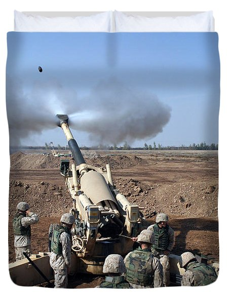 The U.s. Marine Corps M-198 155mm Duvet Cover by Stocktrek Images