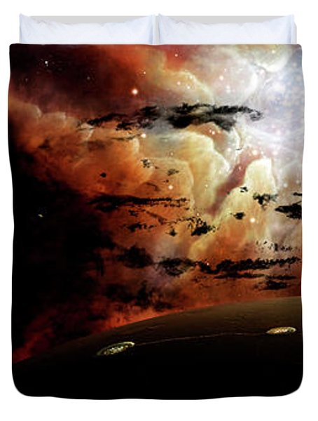 The View From A Busy Planetary System Duvet Cover by Brian Christensen