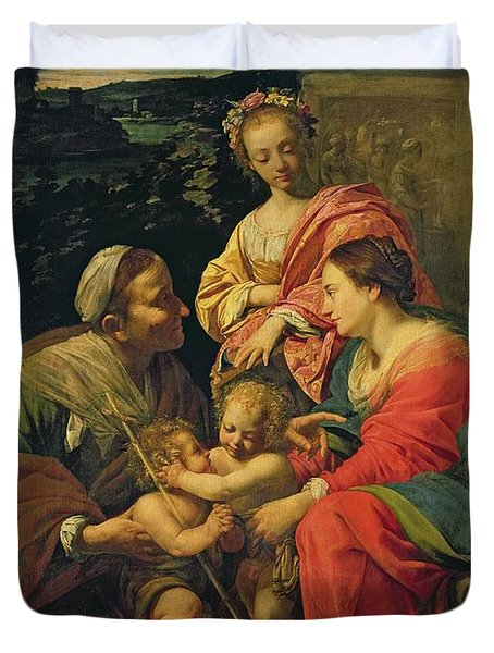 The Virgin And Child With Saints Duvet Cover by Simon Vouet