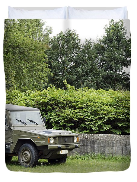 The Vw Iltis Jeep Used By The Belgian Duvet Cover by Luc De Jaeger