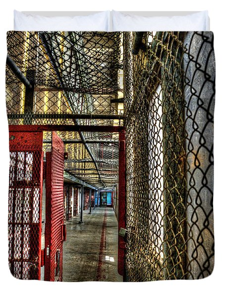 The West Virginia State Penitentiary Cell Hallway Duvet Cover by Dan Friend