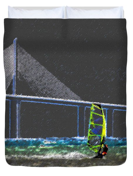The Wind Surfer Duvet Cover by David Lee Thompson