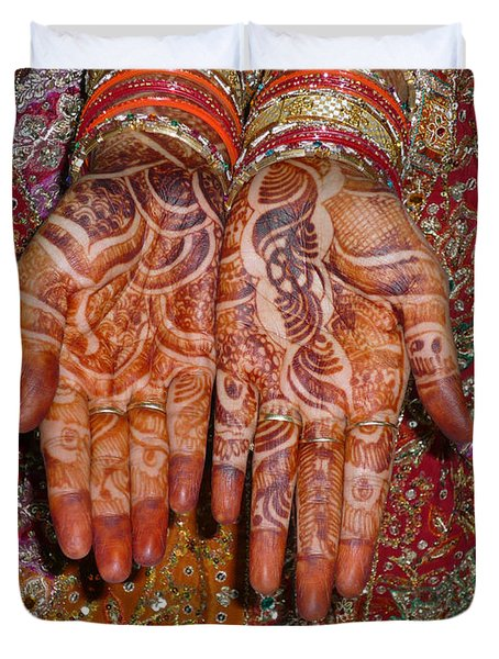 The Wonderfully Decorated Hands And Clothes Of An Indian Bride Duvet Cover