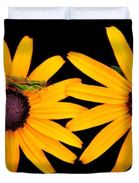 Duvet Cover featuring the photograph The Yellow Rudbeckia by Davandra Cribbie