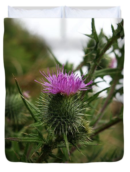 Duvet Cover featuring the photograph Thistle Bloom by Lorraine Devon Wilke