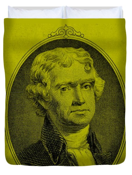 Thomas Jefferson In Yellow Duvet Cover by Rob Hans